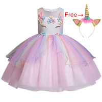 Новый Единорог Платье для девочек вышитая бальное платье принцессы для маленьких девочек платье для девочек на день рождения для вечерние ...