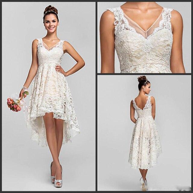 2017 v ausschnitt Asymmetrische Spitze Hochzeitskleid Einfache ...