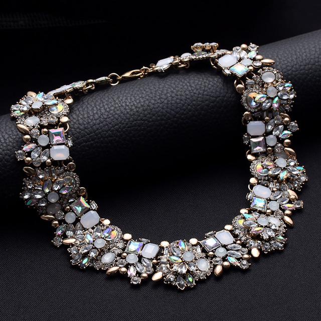 1 Piece New Gothic Crystal Flower Women Choker Bib Chunky Choker Statement Chain Necklace Fashion Jewelry