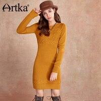 Artka Wool Sweater Dress Long Sleeve Pullover Women's Dress Knitted Bodycon Dress Women 2018 Autumn Winter Warm Dress LB10059Q