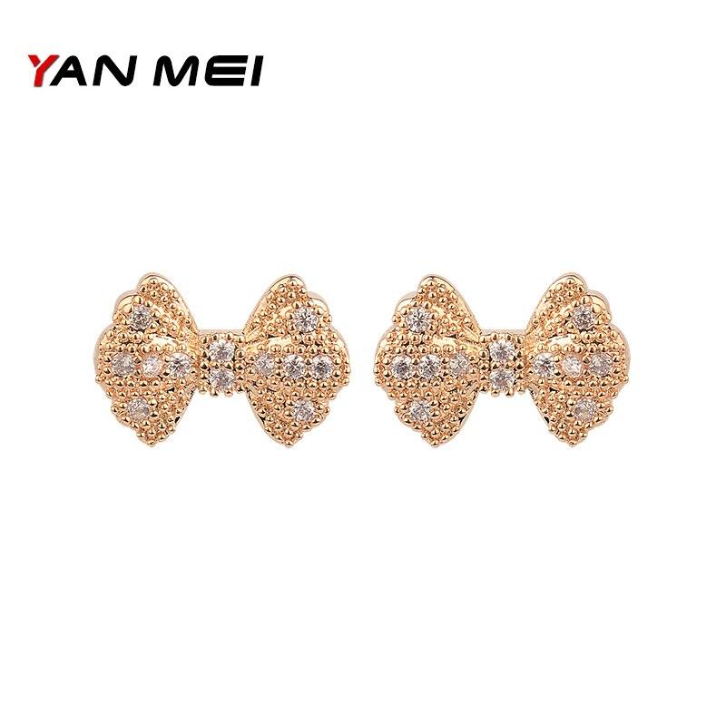 fd7ff2fc39b4 Alta calidad Bowknot forma oro blanco cúbicos Zirconia mariposa pendientes  de plata para las mujeres accesorios GLE2796