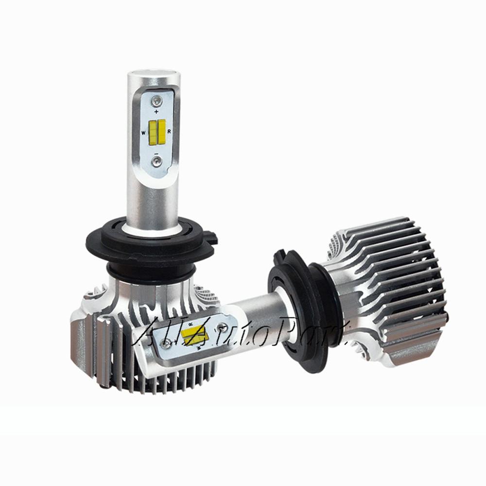 2017 автомобилей Светодиодный свет фар лампа H7 H4 H1 H11 спереди светильник светодиодный s 9005 9006 9600LM 80 Вт двойной цвет в одном авто Внешний Фары