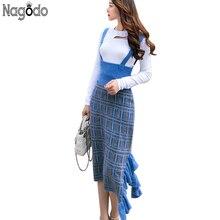Nagodo Knit Wool Skirts Womens 2018 Autumn Winter Casual Ruffles Plaid Pencil skirt High Waist Strap Asymmetrical Midi