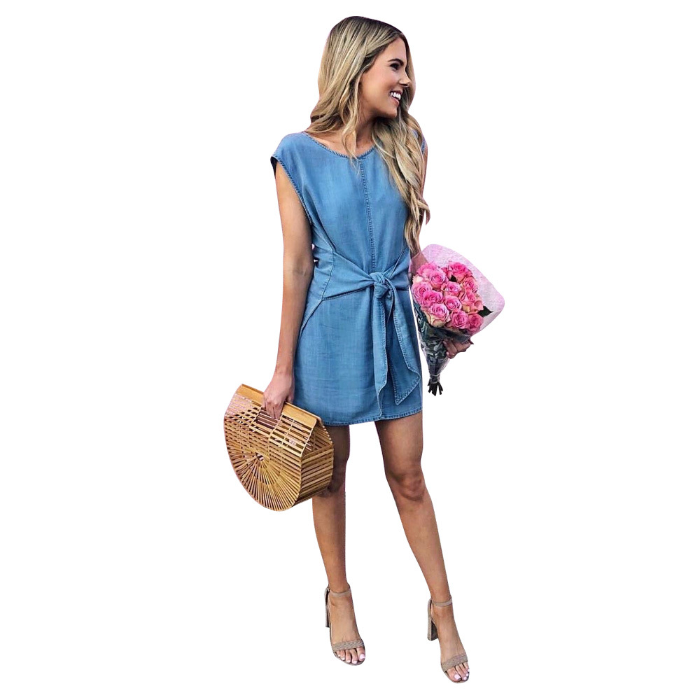 Dresses High Street Casual Tanks Dress Summer O Neck Sleeveless Mini A-line Sundress Women Solid Empire Lace Up Denim Vestidos Ld8164 Pleasant To The Palate