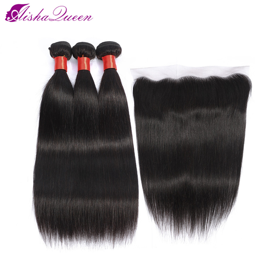 Aisha Queen Straight Human Hair 3 Bundles With Closure Peruvian Non Remy Hair Pre Plucked Lace