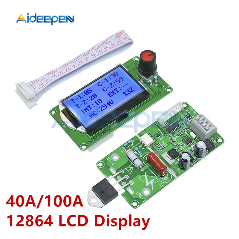 40A 100A 12864 LCD Display Digital Double Pulse Encoder Spot Welder Welding Machine Transformer Controller Board Time Control