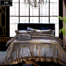 King Size 28 Momme Mulberry Silk 4 Piece Bedding Sets Yarn Dyed Jacquard Quilt Cover Bed Sheet Pillow Case Golden Baroque