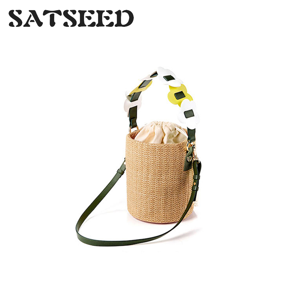 2019 Tide Brand Small Designers with Flower Decorative Drawstring Woven Bucket Portable Shoulder Bag Women