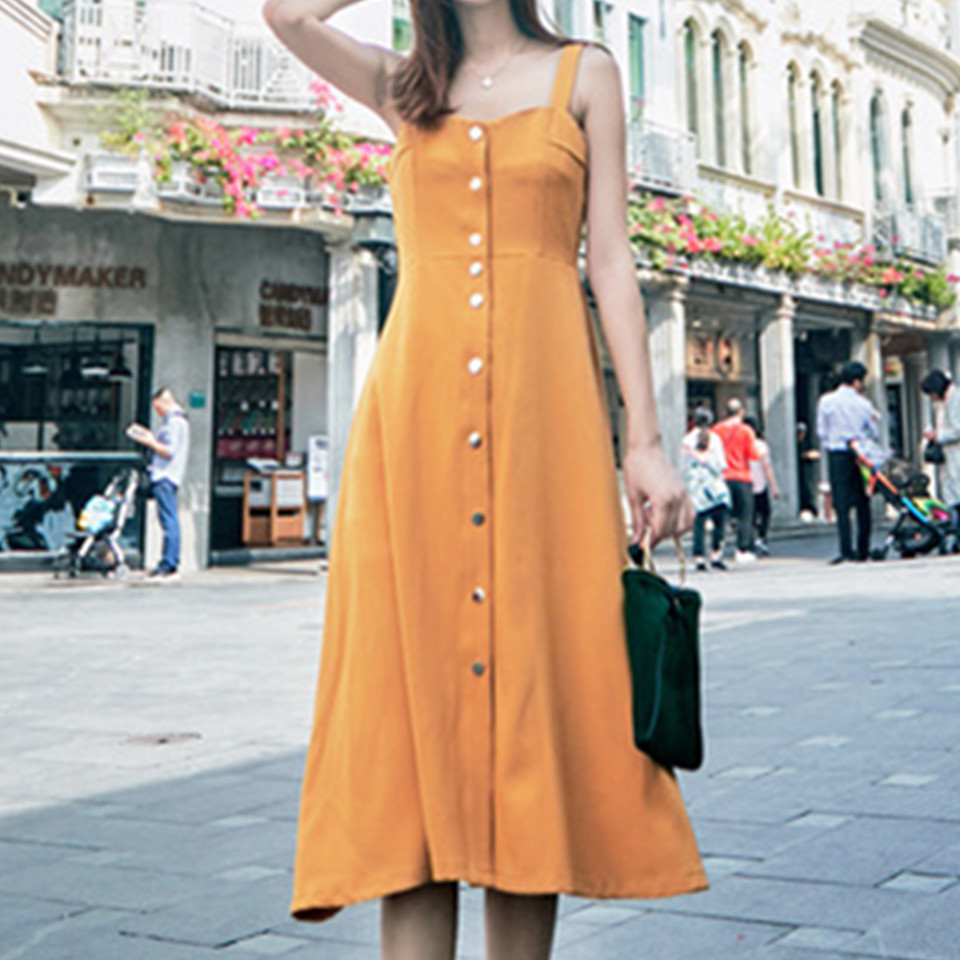 Abbille Yellow button sexy casual summer strap dress Mid-Calf Long boho beach women sundress vestidos Elegant daily dess female