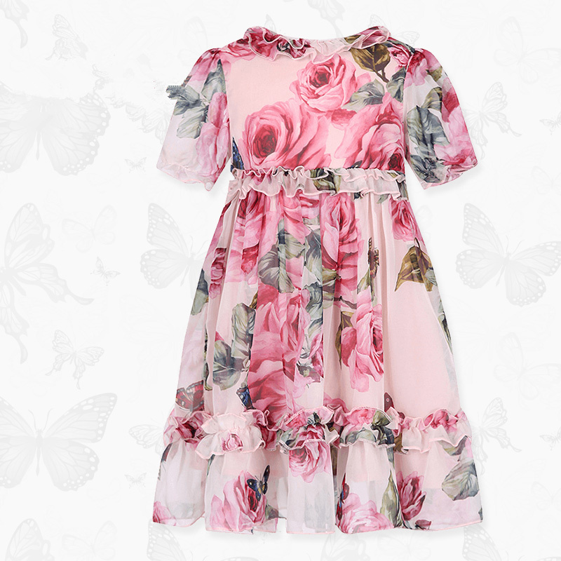 W.L.Monsoon Brand Children's clothing 2018 summer New Girls Floral Chiffon dress lace Short sleeve Princess dress flutter sleeve elastic waist floral dress