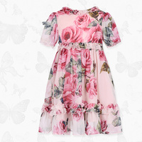 W.L.Monsoon Brand Children's clothing 2019 summer New Girls Floral Chiffon dress lace Short sleeve Princess dress