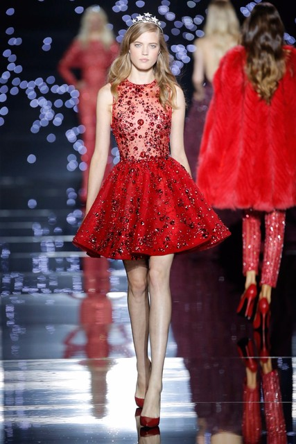 Zuhair Murad Red Short Evening Gowns Y See Through A Line Puffy Gown Elegant Beading