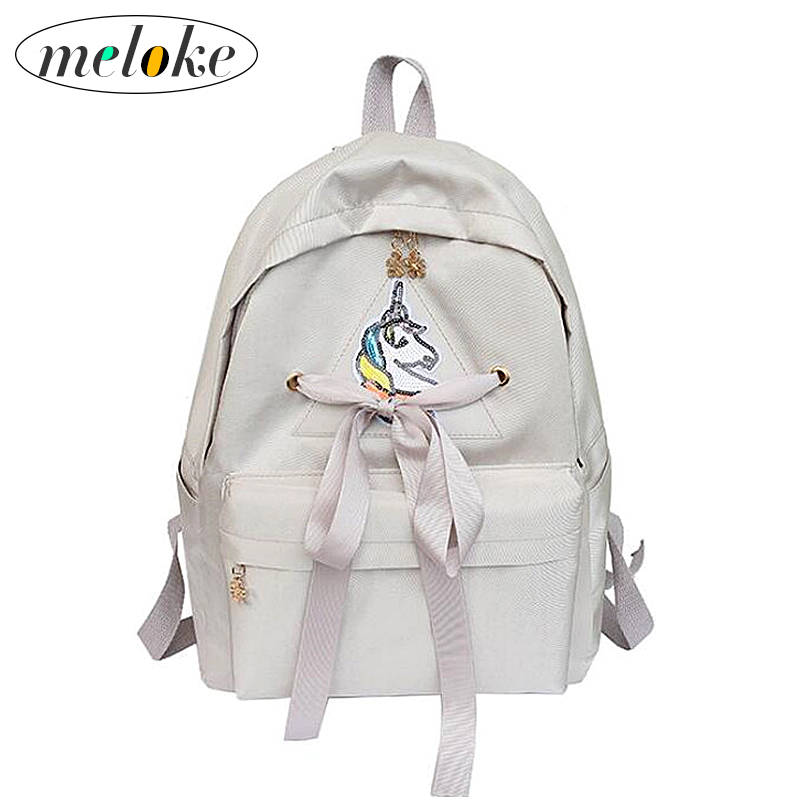 Meloke 2019 Hot Sequins Unicorn Backpack Canvas School Bags For Girls Casual Ribbons Travel Backpack Drop Shipping M109