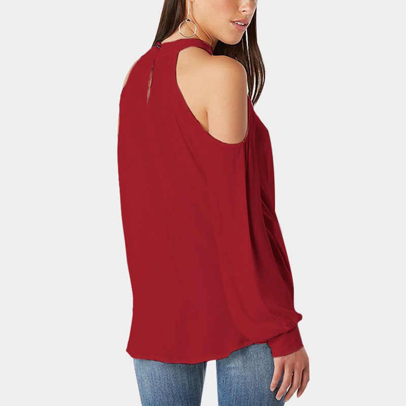U-SWEAR 2019 Nieuwe Collectie Fashion Sexy Vrouwen T-Shirt Off Shoulder Halter Hals Volledige Mouw Zachte Vrouwelijke Tops Streetwear T-Shirt