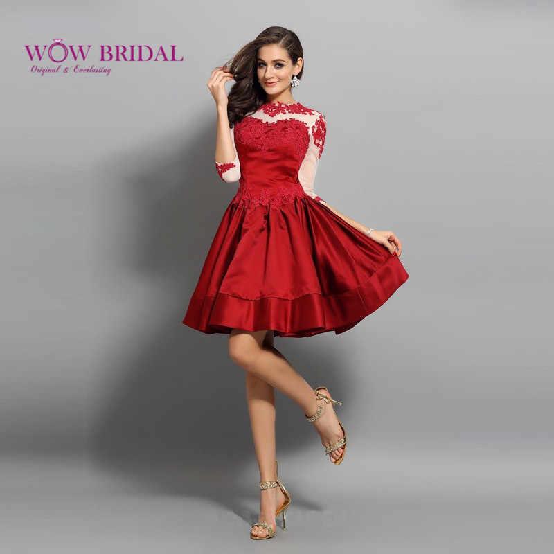 Wowbridal кружевные короткие платья для выпускного вечера 2016 милое платье на молнии