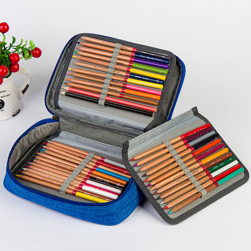 Canvas 72 Holes School Art Pencil Cases For Girls Boy Pencilcase Pen Box Penalty Orangizer Storage Bag Case Pouch Stationery Kit in Pencil Bags from Office School Supplies