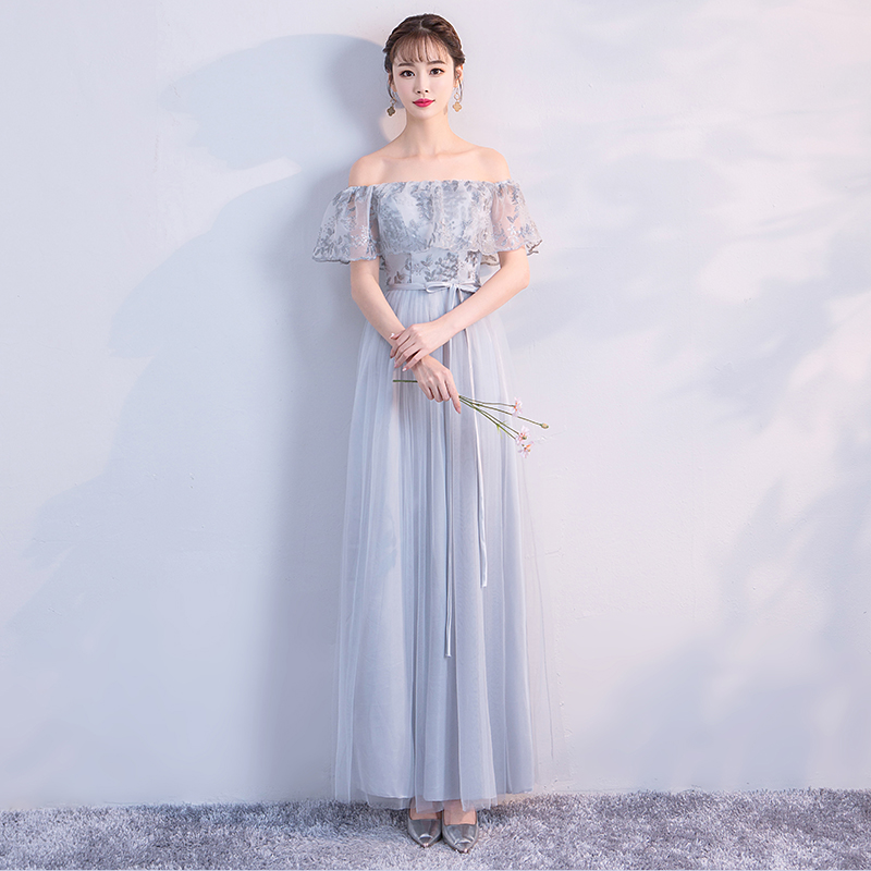 Long Grey Dress Wedding Party Dress Bridesmaid Dress Embroidery Floor Length Back of Bandage in Bridesmaid Dresses from Weddings Events