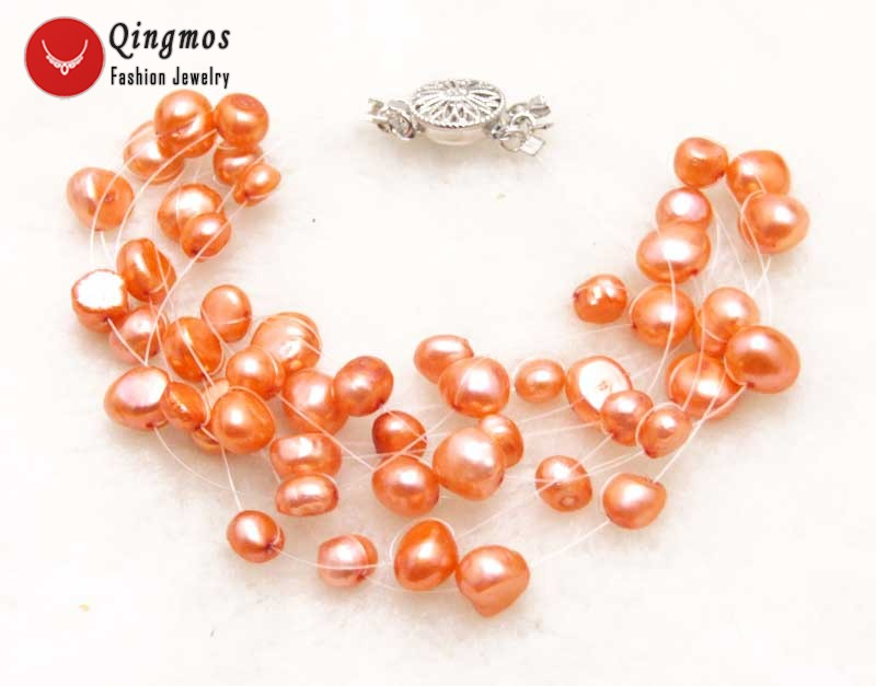 Qingmos Red Natural Pearl Bracelets for Women with 9 Strands 6-9mm Baroque Pearl Starriness Bracelets Fine Jewelry 7.5