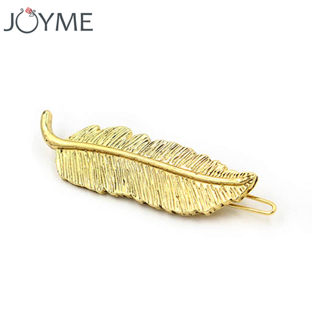 Gold feather hairpins for women peacock feather hair accessories