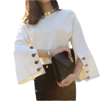 2017 Spring Summer Runway Blouses Shirts Tops New Women Split Sleeve Loose Suede Blouse Sexy Ladies