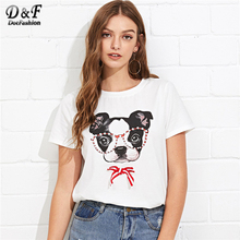 Luogen Japan Style Fox Printed Cross Ribbon T-shirt Women Girls' Three Quarter Sleeve