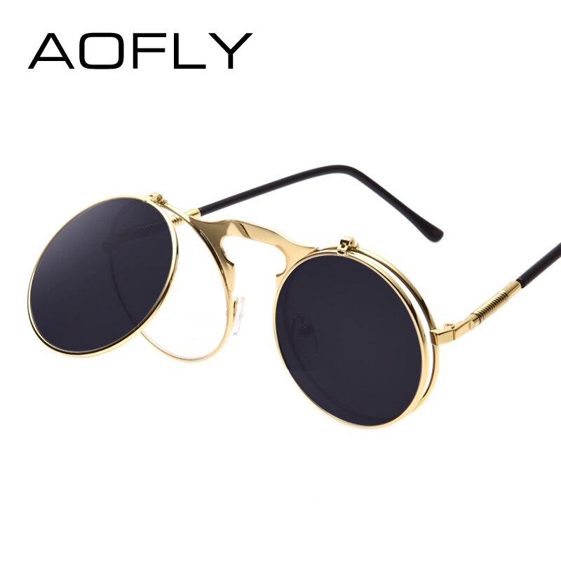 AOFLY Vintage Steampunk. Стильные мужские и женские солнцезащитные очки унисекс, в стиль ретро-панк, в круглом дизайне, в металлической оправе и зеркал...