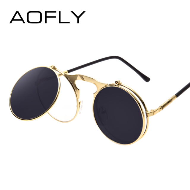 3e072daef7 VINTAGE STEAMPUNK Sunglasses round Designer steam punk Metal OCULOS de sol  women COATING SUNGLASSES Men Retro