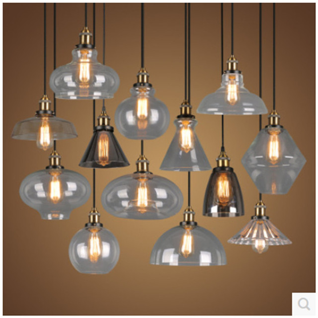 Eenvoudige Retro Glas Hanglamp Industrile Stijl Woonkamer