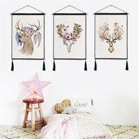 1 шт. стене висит картина Nordic цветок олень хлопок белье настенные декоративные гобелен для Гостиная Home Decor Плакаты Новый год