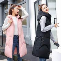 PinkyIsBlack New Arrival 2018 Winter Vest Women Long Vest Jacket Sleeveless Hooded Down Cotton Winter Waistcoat Warm Vest Female