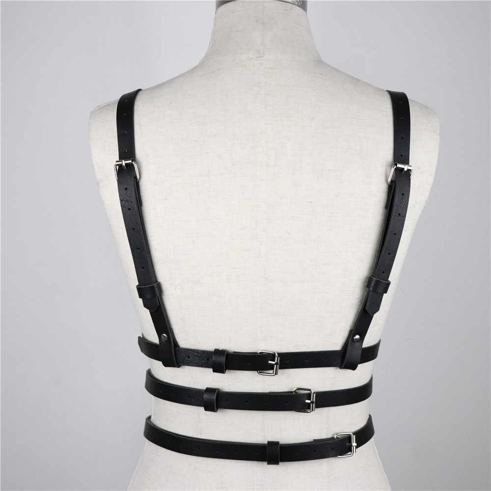 UYEE Hot Sell Black PU Leather Harness Women Garters For Stockings Straps Lingerie CheSt Bondage Pastel Goth Waist Belt  LB-018