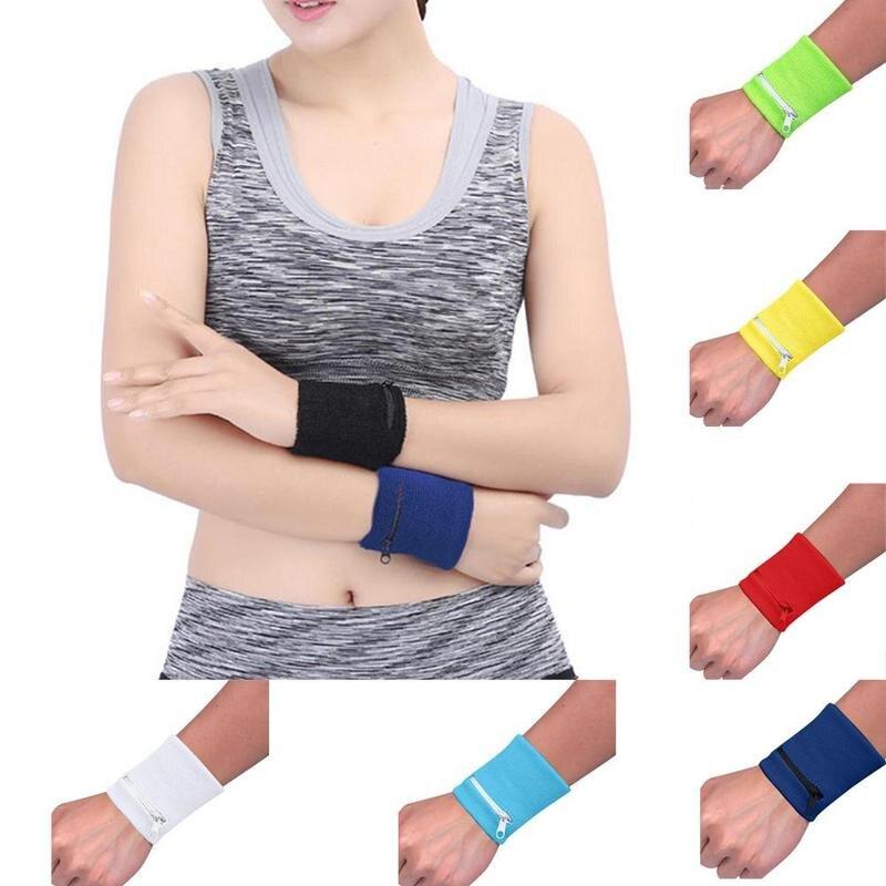 Zipper Wrist Wallet Pouch Bag Band Running Travel Cycling Safe Key Card Sport Wrist Bag Cotton Storage For Running