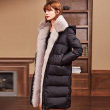 7e2196d016da -30 Grad Europäischen Frauen Outwear Mantel Luxus Fuchspelz Dicken Winter  jacke Ente Unten Lange Warme Frauen Daunenjacke Schnee.