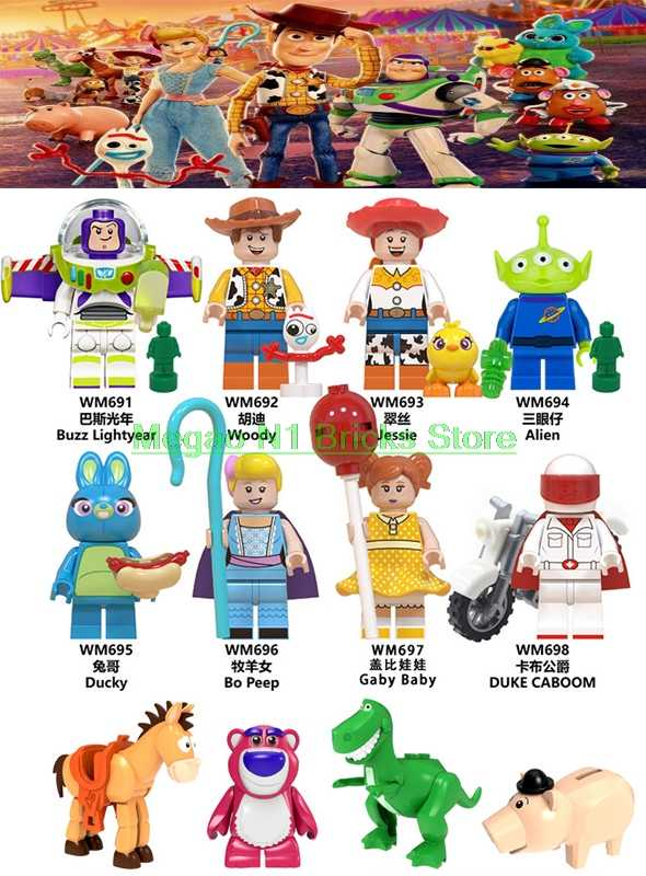 For Toys Story Figures Buzz Lightyear Woody Forky Gremlins Gizmo Stitch Jessie Alien  With Elliot Building Blocks Friends Bricks
