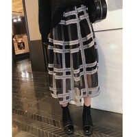 MISHOW 2019 xadrez outono saia plissada mulheres causal malha Mid-comprimento da cintura elástica saia preta MX18D1879