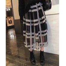 秋の格子縞のプリーツスカート女性因果弾性ウエストメッシュミドル黒スカート MISHOW MX18D1879 2019