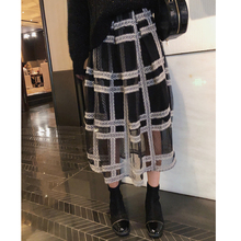 MISHOW 2019 autumn plaid pleated skirt women causal elastic waist mesh Mid-length black skirt  MX18D1879