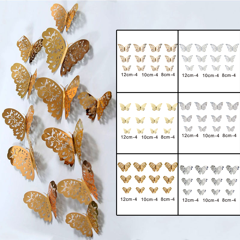 3D Hollow Butterfly Wall Sticker Bedroom Living Room Wall Stickers Three-dimensional Butterfly Home Simulation Decoration