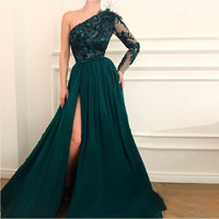 2019 Robe De Soiree Evening Formal Dresses Slit Side Sexy One Shoulder Applique Evening Gowns Abendkleider Vestido De Festa