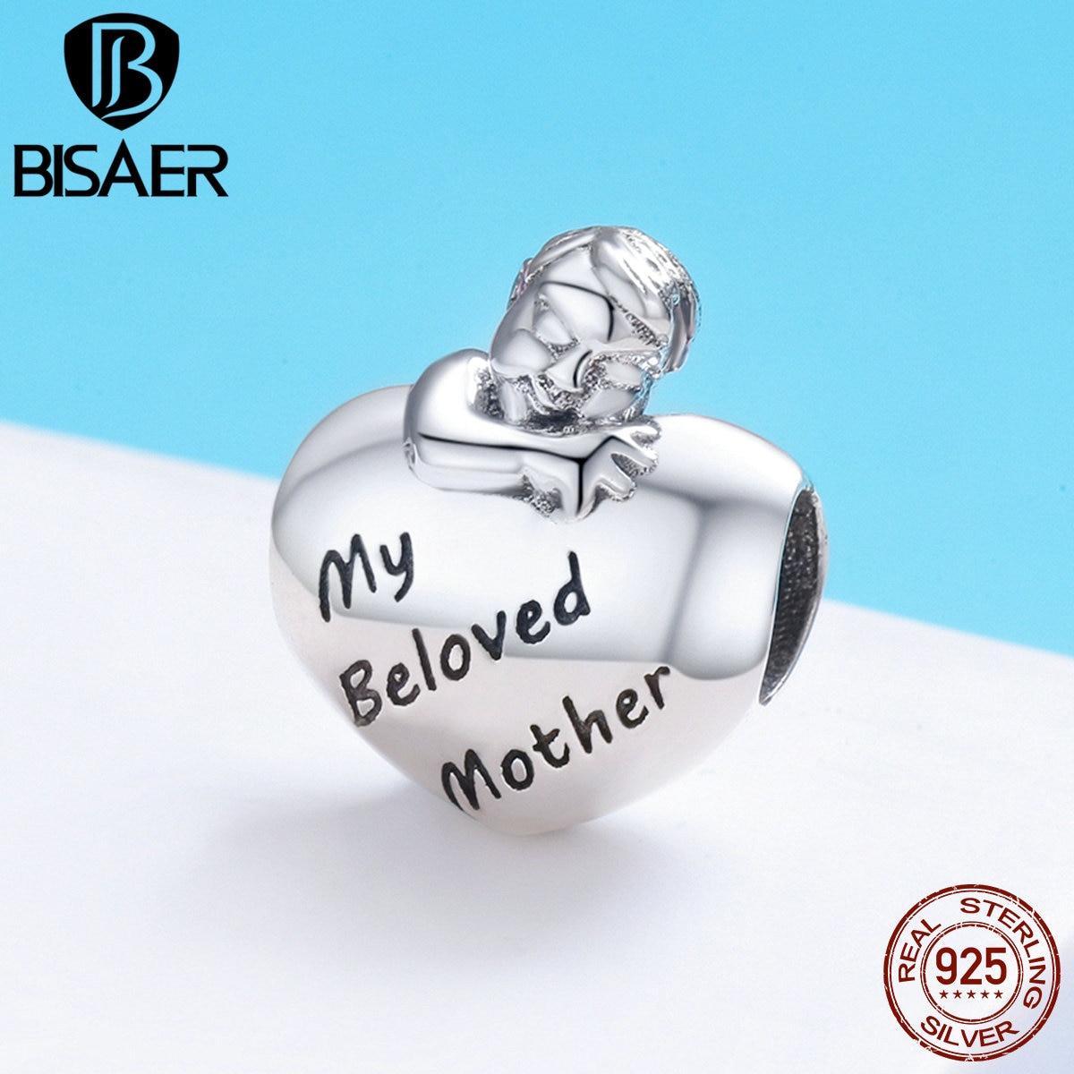 BISAER стерлингового серебра 925 Шарм любимой маме выгравировать подарок для мамы Сердце Мальчик Шарм браслет приспособленный 925 Серебряные юв...