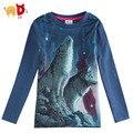 AD Spring Boys T-shirts Full Sleeve 3D Print Dark Blue Kids T shirt Kid Clothes Children Clothing Minion roupas infantis menino