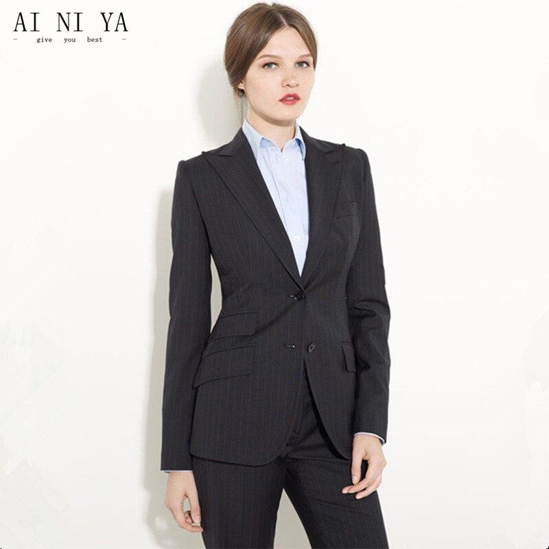 Black Formal Pants Suit Women Office Uniform Designs Women Female Business Suit Fashion Elegant Style One Button Striped Suits