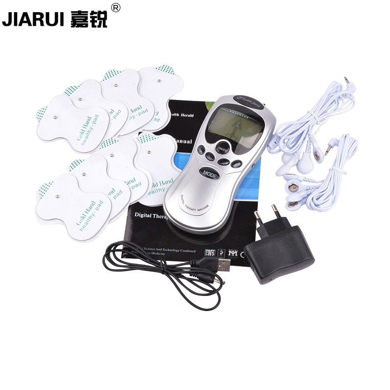 JAIRUI Digital Meridian Therapy Massager Machine Full Body Healthy Care Slimming Muscle Relax Fat Burner Pain 8 Pads Massage 2017 full body massager pulse slimming muscle relax massage electric slim 4 pads jun30 15