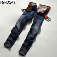 2016 Beswlz Brand Men Denim Jeans Straight Slim Male Cowboy Jeans Pants Fashion Classical Casual Style