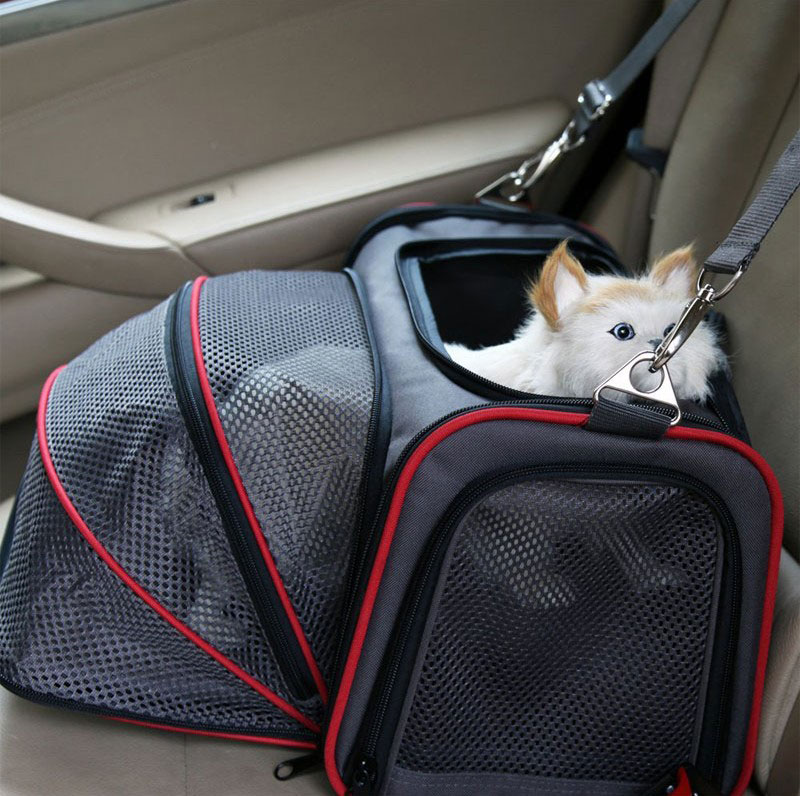 Portable Storage Pet Dog Carrier Bags Dog Cat Puppy Pet Travel Tote Shoulder Bag Cage Crate Gray Black