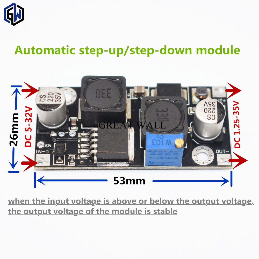 XL6019 (XL6009 upgrade) Automatic step-up step-down Dc-Dc Adjustable Converter Power Supply Module 20W 5-32V to 1.3-35VXL6019 (XL6009 upgrade) Automatic step-up step-down Dc-Dc Adjustable Converter Power Supply Module 20W 5-32V to 1.3-35V