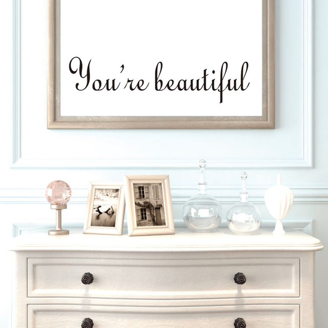 DCTOP You're Beautiful Mirror Wall Sticker Vinyl Mirror Decals Toliet  Living Room Home Decor