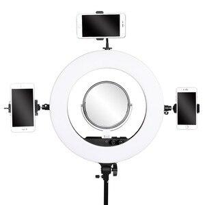 Image 2 - Fosoto 18 pouces éclairage photographique 100W Led anneau lumière vidéo anneau lampe avec miroir Ringlight pour téléphone caméra Youtube maquillage