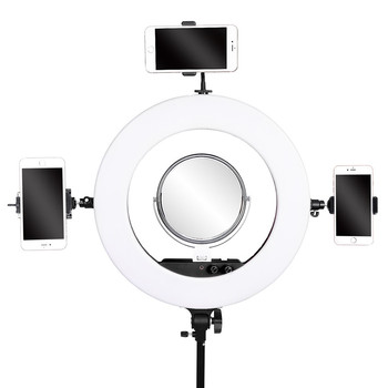 fosoto photographic lighting 3200-5800K 100W Led Ring Light Bi-color Ring Lamp Tripod Stand Mirror For Phone Camera photo Video 1