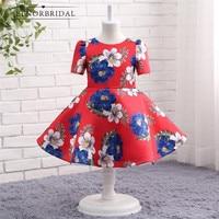 Fashion Short Sleeves Flower Girl Dresses 2020 Print Flower Kids Evening Party Gowns Vestido Daminha First Communion Dress